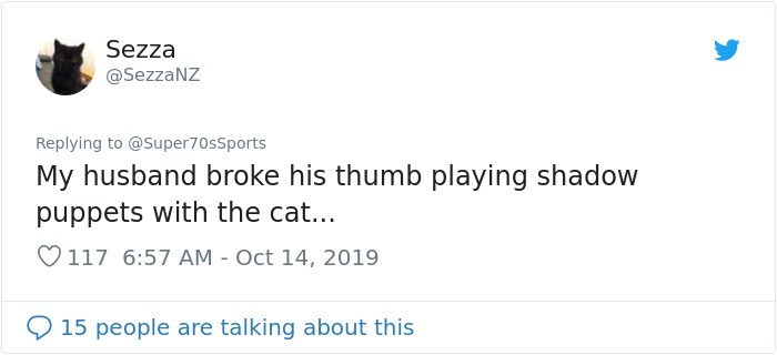 Text - Sezza @SezzaNZ Replying to @Super70sSports My husband broke his thumb playing shadow puppets with the cat... 117 6:57 AM Oct 14, 2019 15 people are talking about this