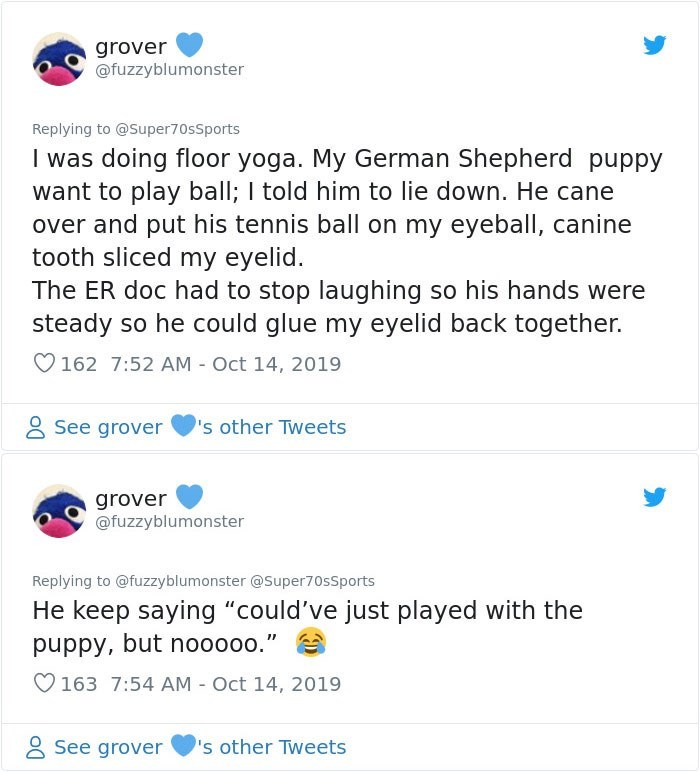 """Text - grover @fuzzyblumonster Replying to @Super70sSports I was doing floor yoga. My German Shepherd puppy want to play ball; I told him to lie down. He cane over and put his tennis ball on my eyeball, canine tooth sliced my eyelid. The ER doc had to stop laughing so his hands were steady so he could glue my eyelid back together. 162 7:52 AM Oct 14, 2019 See grover 's other Tweets grover @fuzzyblumonster Replying to @fuzzyblumonster @Super70sSports He keep saying """"could've just played with the"""
