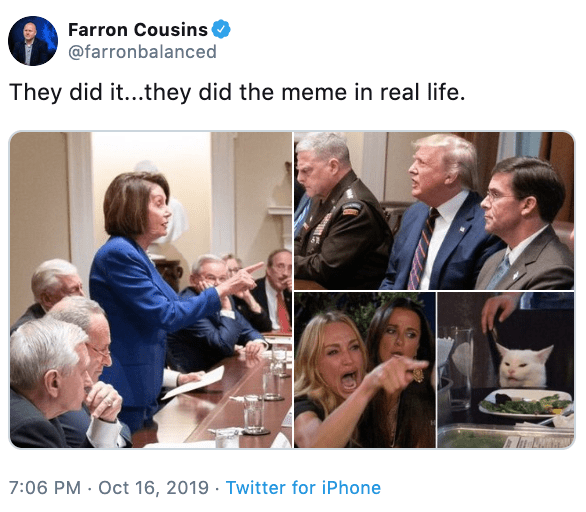 Product - Farron Cousins @farronbalanced They did it...they did the meme in real life. 7:06 PM Oct 16, 2019 Twitter for iPhone