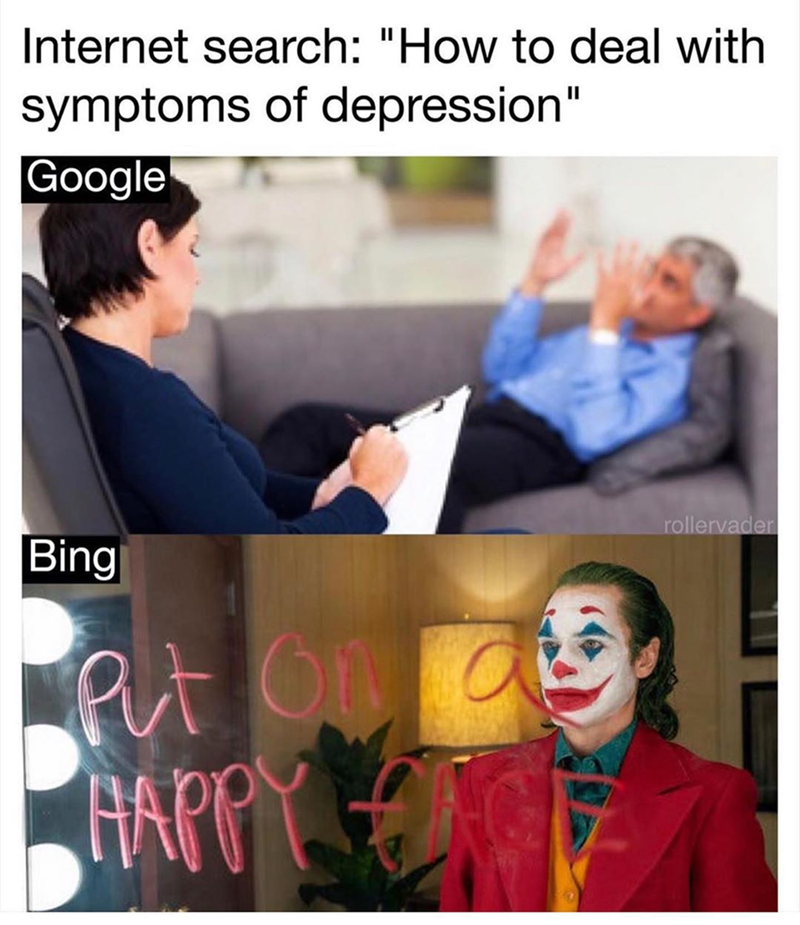 Funny joker meme about bing and google search