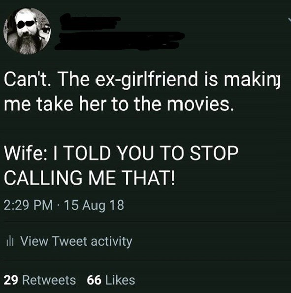 Text - Can't. The ex-girlfriend is making me take her to the movies. Wife: I TOLD YOU TO STOP CALLING ME THAT! 2:29 PM 15 Aug 18 ll View Tweet activity 29 Retweets 66 Likes