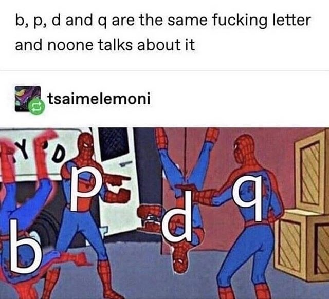 Cartoon - b, p, d and q are the same fucking letter and noone talks about it tsaimelemoni Y D d q