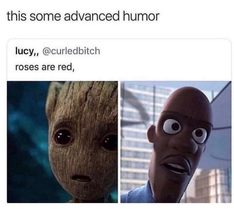 Adaptation - this some advanced humor lucy,, @curledbitch roses are red,