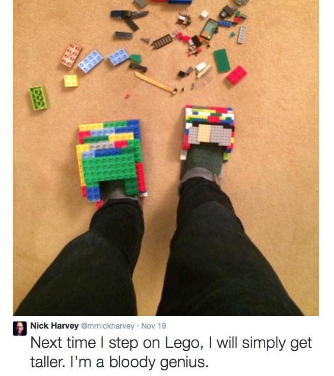 Text - Nick Harvey @mrmickharvey Nov 19 Next time I step on Lego, I will simply get taller. I'm a bloody genius.