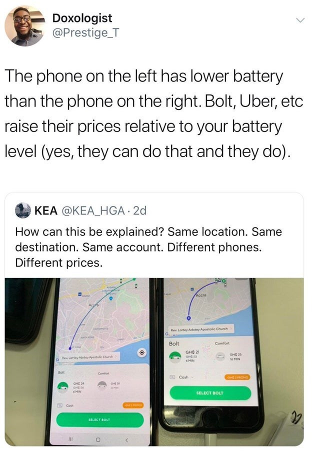 Text - Doxologist @Prestige T The phone on the left has lower battery than the phone on the right. Bolt, Uber, etc raise their prices relative to your battery level (yes, they can do that and they do) KEA @KEA_HGA 2d How can this be explained? Same location. Same destination. Same account. Different phones. Different prices Accra Acgrs Rev Lortey Adotey Apostolic Church Bolt Comfort GHC 21 GH онс 25 Lartayetey Apestall Church 16 MIN Bolt Confort Cosh det rROMO GHE 24 GHE GHE 3 MIN SELECT BOLT Co