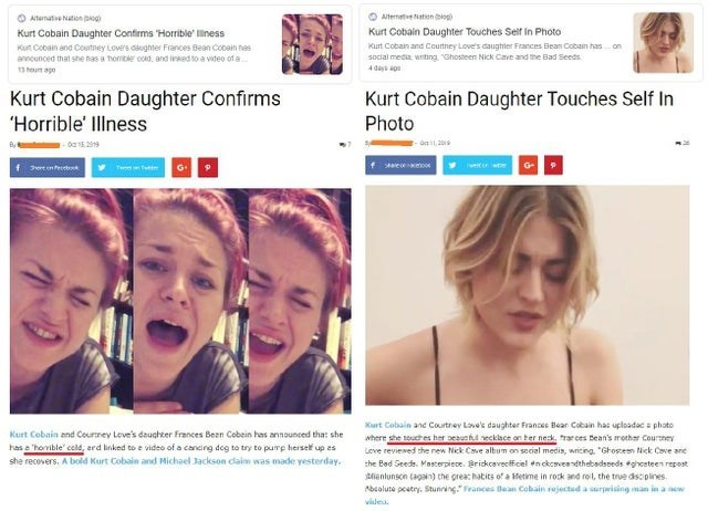 Face - O AltemtveNatien oge OAtemats Nation iog Kurt Cobain Daughter Touches Seif In Photo Kurt Cobain Daughter Confims Horrible' iness Kurt Cobain and Courtney Love's daughtter Frances Bean Cobain has social media wrting Ghosteen Nick Cave and the Bad Seeds Kut Cobain and Costney Love's osughter Frances Bean Cobain nes on anncunced that she nas a Thomble co0, and inked to a video of a 4days ag 13 hou ago Kurt Cobain Daughter Confirms Horrible Illness Kurt Cobain Daughter Touches Self In Photo ,