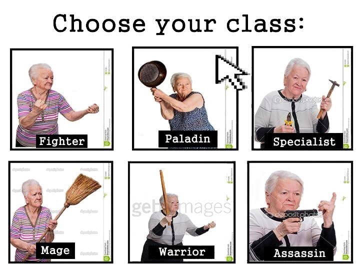 Photo caption - Choose your class: Paladin Fighter Specialist d gebmages sostgha d Mage Warrior Assassin