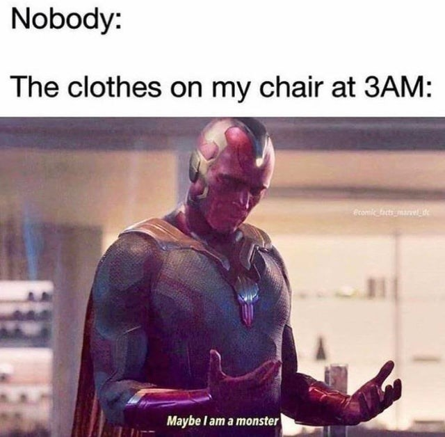 Funny meme about clothes at 3am, vision, marvel memes