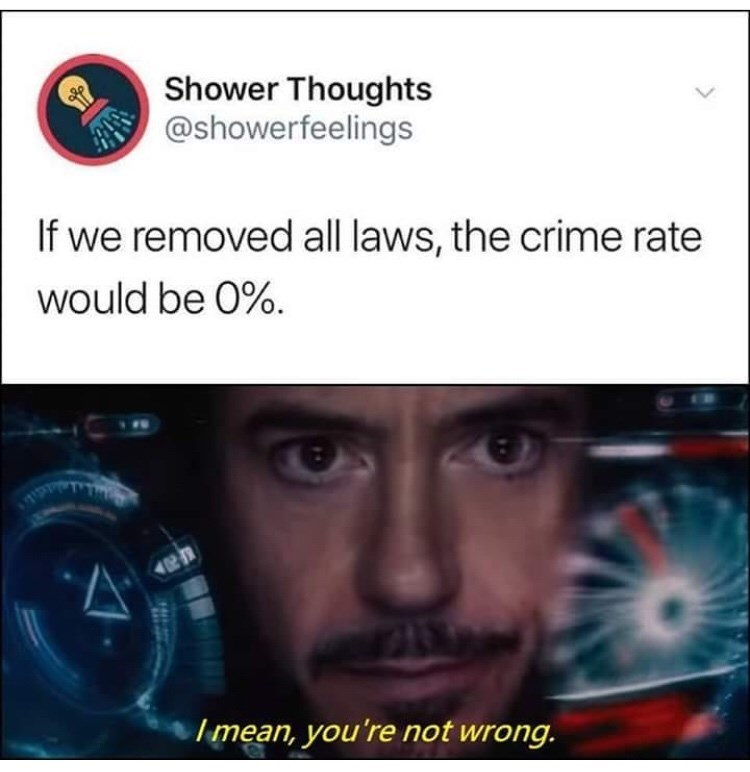 Text - Shower Thoughts @showerfeelings If we removed all laws, the crime rate would be 0% Imean, you're not wrong.