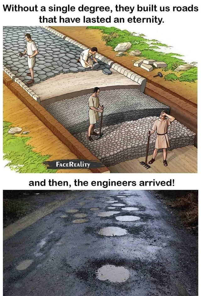 Soil - Without a single degree, they built us roads that have lasted an eternity. FACEREALITY and then, the engineers arrived!
