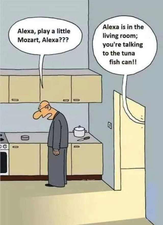 Cartoon - Alexa is in the living room; you're talking Alexa, play a little Mozart, Alexa??? to the tuna fish can!!