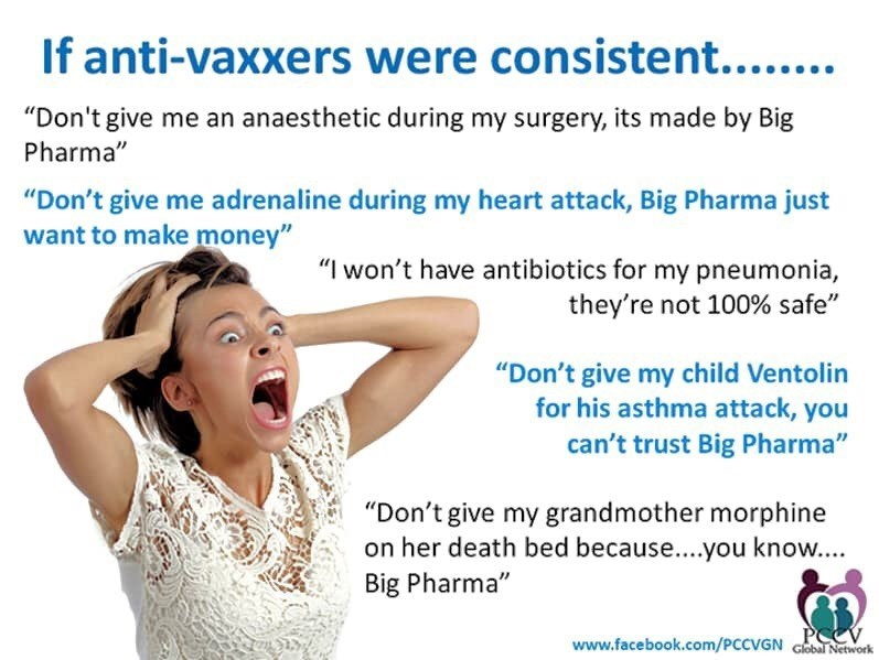 "Text - If anti-vaxxers were consistent....... ""Don't give me an anaesthetic during my surgery, its made by Big Pharma"" ""Don't give me adrenaline during my heart attack, Big Pharma just want to make money"" ""I won't have antibiotics for my pneumonia, they're not 100% safe"" ""Don't give my child Ventolin for his asthma atta ck, you can't trust Big Pharma"" ""Don't give my grandmother morphine on her death bed because....you know... Big Pharma"" PCCV www.facebook.com/PCCVGN Globl Network"