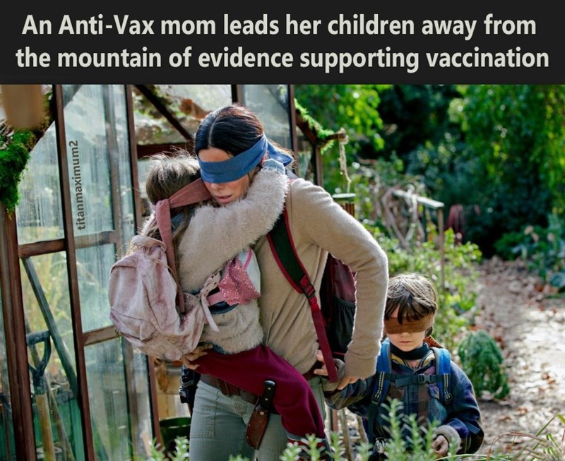 Adaptation - An Anti-Vax mom leads her children away from the mountain of evidence supporting vaccination titanmaximum2