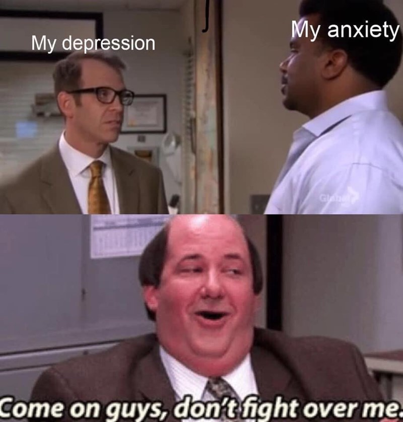 Photo caption - My anxiety My depression Come on guys, don't fight over me.