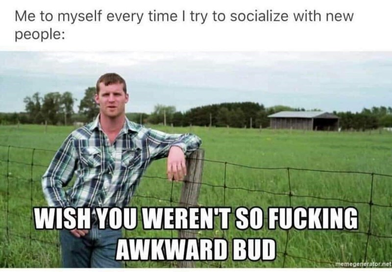Grassland - Me to myself every time I try to socialize with new people: WISH YOU WERENT SO FUCKING AWKWARD BUD memegenerator.net