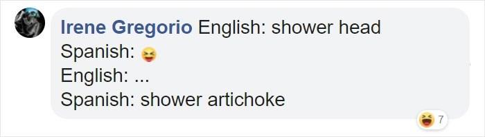 Text - Irene Gregorio English: shower head Spanish: English: .. Spanish: shower artichoke 7