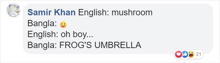 Text - Samir Khan English: mushroom Bangla: English: oh boy... Bangla: FROG'S UMBRELLA 21