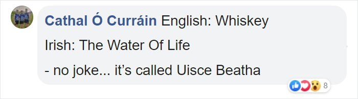 Text - Cathal Ó Curráin English: Whiskey Irish: The Water Of Life - no joke... it's called Uisce Beatha