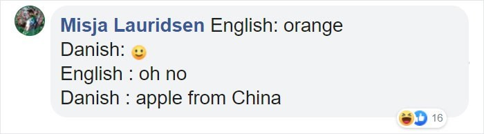 Text - Misja Lauridsen English: orange Danish: English oh no Danish apple from China 16