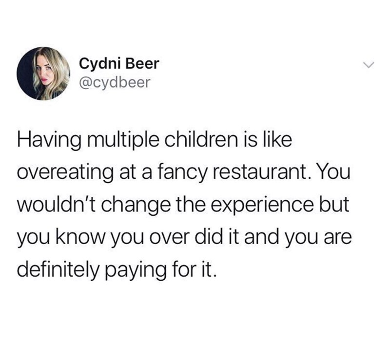 Text - Cydni Beer @cydbeer Having multiple children is like overeating at a fancy restaurant. You wouldn't change the experience but you know you over did it and you are definitely paying for it.