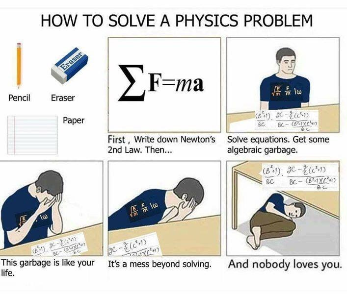 Line - HOW TO SOLVE A PHYSICS PROBLEM Eraser F-ma Pencil Eraser lo Paper Bc BC- First, Write down Newton's 2nd Law. Then... Solve equations. Get some algebraic garbage. (B1), - BC BC-(8-1X Vm gc-l It's a mess beyond solving. (841X This garbage is like your life. And nobody loves you.