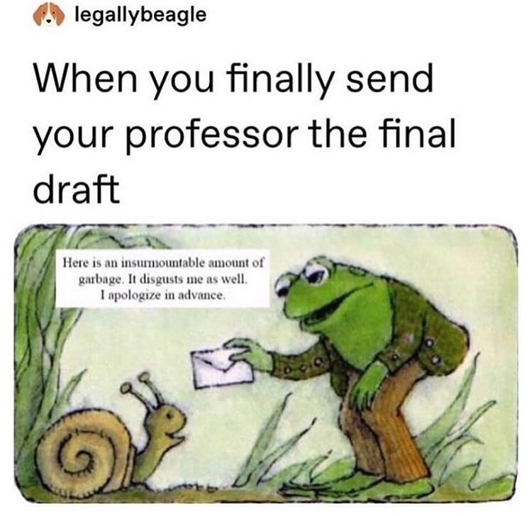 Frog - legallybeagle When you finally send your professor the final draft Here is an insurmountable amount of garbage. It disgusts me as well. I apologize in advance