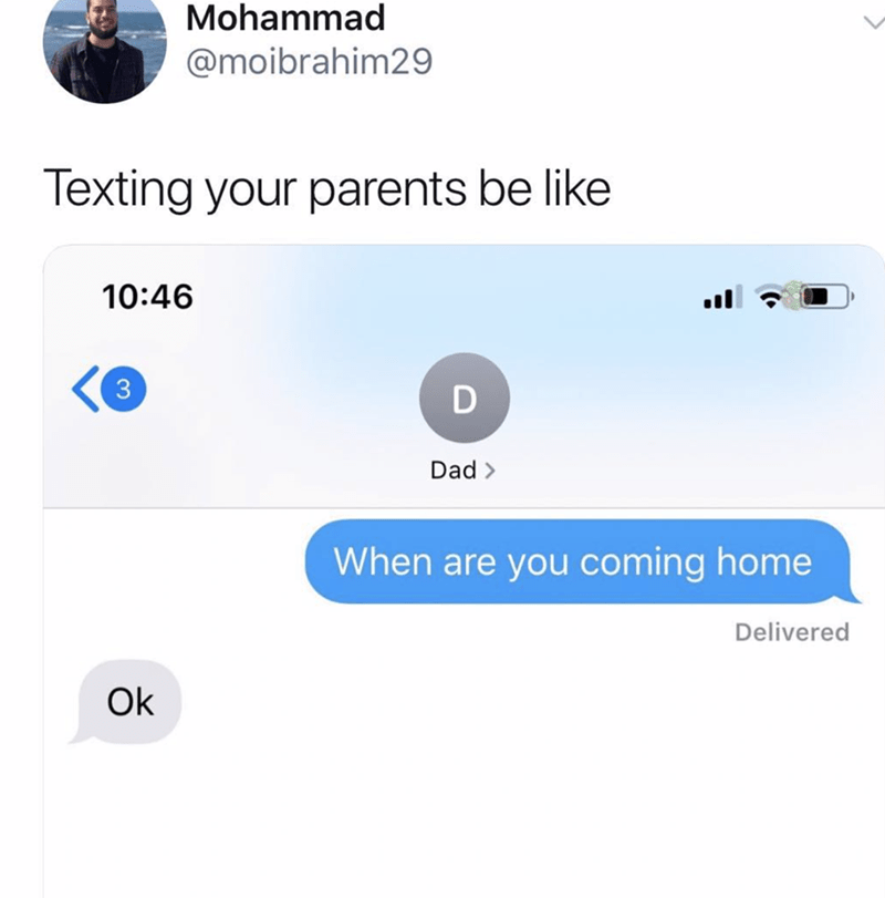 Text - Mohammad @moibrahim29 Texting your parents be like 10:46 3 D Dad> When are you coming home Delivered Ok