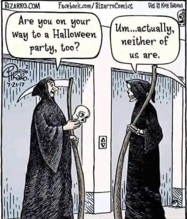 Cartoon - Facebook.com/BizarrComies BIZARRO.COM Dist Kinge atures Are you on your Way to a Halloween party, too? Um...actually, neither of us are. 7-21-17 AD
