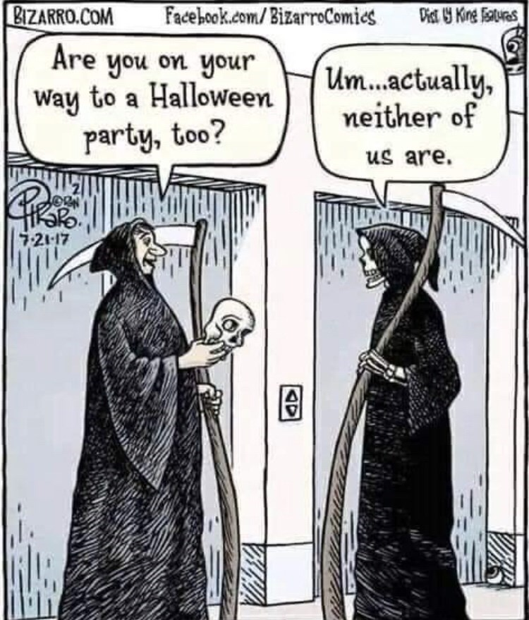 Cartoon - Facebook.com/BizarrComies BIZARRO.COM Dist Kinge atures Are you on your Way to a Halloween party, too? Um...actually, neither of us are. 7-21-17 AD
