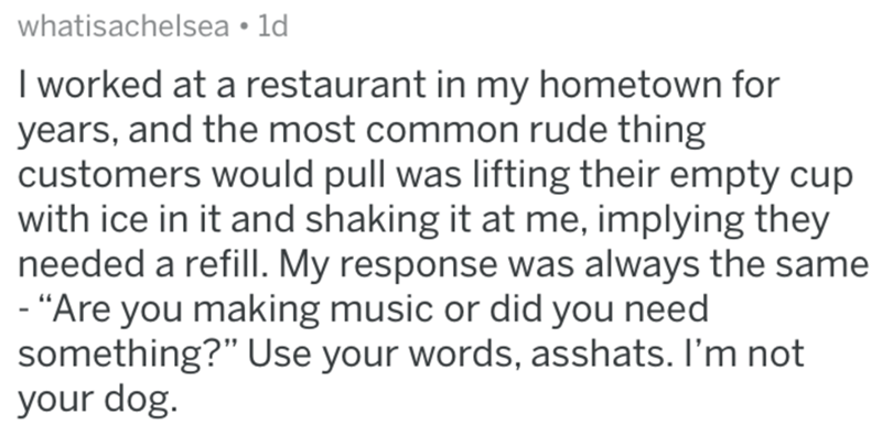 """Text - whatisachelsea ld I worked at a restaurant in my hometown for years, and the most common rude thing customers would pull was lifting their empty cup with ice in it and shaking it at me, implying they needed a refill. My response was always the same -""""Are you making music or did you need something?"""" Use your words, asshats. I'm not your dog."""