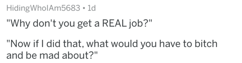 """Text - HidingWholAm5683 1d """"Why don't you get a REAL job?"""" """"Now if I did that, what would you have to bitch and be mad about?"""""""