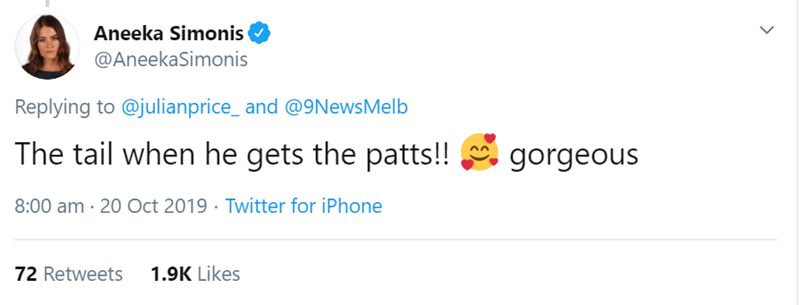Text - Aneeka Simonis @AneekaSimonis Replying to @julianprice_and @9NewsMelb The tail when he gets the patts!! gorgeous 8:00 am 20 Oct 2019 Twitter for iPhone 1.9K Likes 72 Retweets