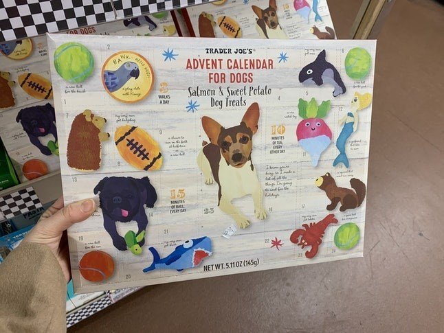 Canidae - FAR DOGS TRADER JOE'S BANK ADVENT CALENDAR FOR DOGS Salmon&Sweet Potato Dog Treats Kn WALKS ADAY wd y 10 dto MNUTES red EVERY HER DAY E 055 MNES Of BALL 14 25 21 19 NET WT.5.110Z (145g)