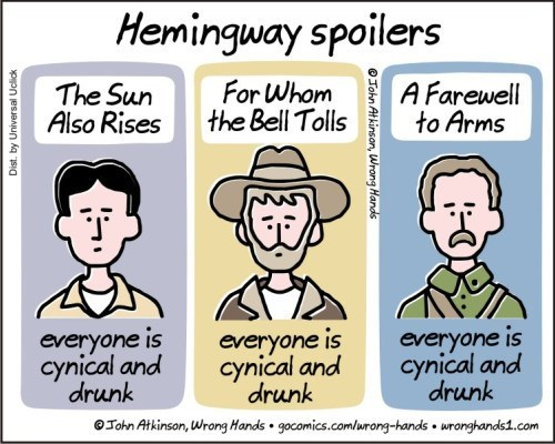 Cartoon - Hemingway spoilers For Whom the Bell Tolls A Farewell to Arms The Sun Also Rises everyone is cynical and drunk everyone is cynical and drunk everyone is cynical and drunk OJohn Atkinson, Wrong Hands gocomics.com/urong-hands wronghands1.com Dist. by Universal Uclick OJohn At kinson, Wrong Hands