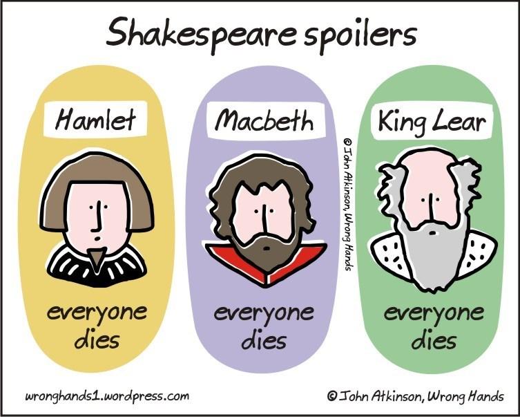 Text - Shakespeare spoilers Macbeth Hamlet King Lear everyone dies everyone dies everyone dies wronghands1.wordpress.com John Atkinson, Wrong Hands OTohn Atkinson, Wrong Hands
