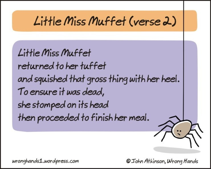 Text - Little Miss Muffet (verse 2) Little Miss Muffet returned to her tuffet and squished that gross thing with her hel. To ensure it was dead, she stomped on its head then proceeded to finish her meal. OTohn Atkinson, Wrong Hands wronghands1.wordpress.com