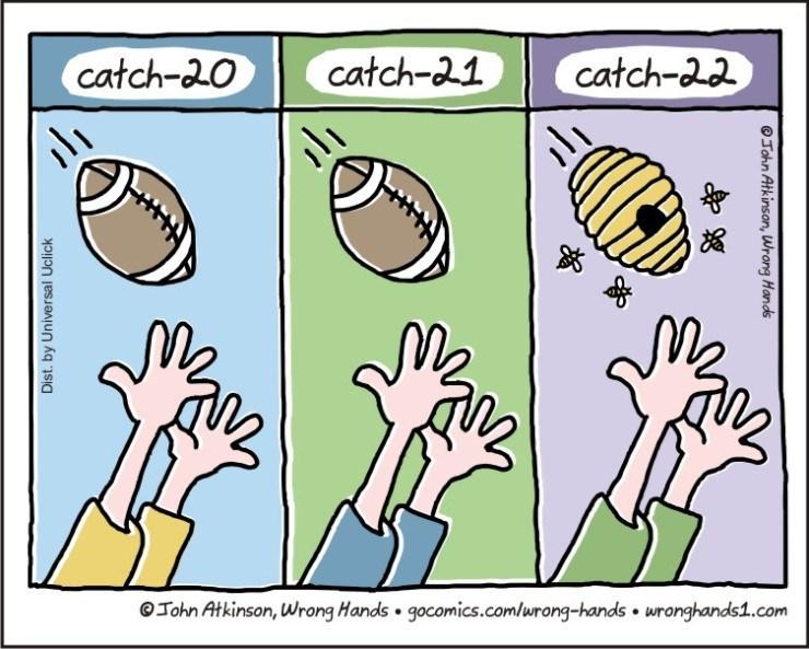 Cartoon - catch-a2 catch-a1 catch-20 John Atkinson, Wrong Hands gocomics.com/urong-hands wronghands1.com Dist. by Universal Uclick OJohn Atkinson, Wrong Hands