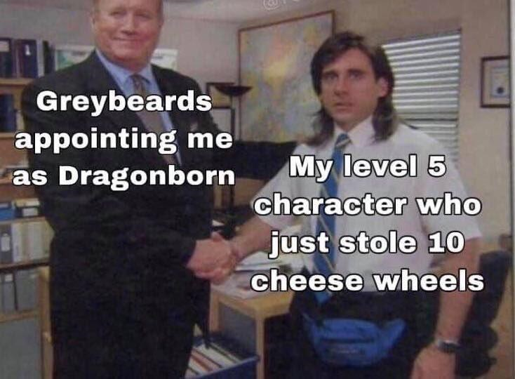 Photo caption - Greybeards appointing me My level 5 character who as Dragonborn just stole 10 cheese wheels