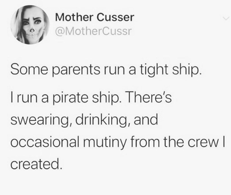 Text - Mother Cusser @MotherCussr Some parents run a tight ship. Irun a pirate ship. There's swearing, drinking, and occasional mutiny from the crew created