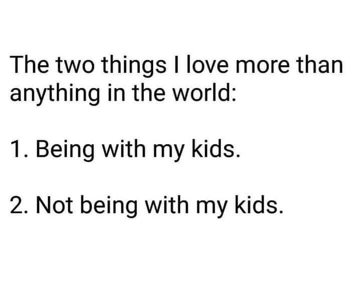 Text - The two things I love more than anything in the world: 1. Being with my kids. 2. Not being with my kids.