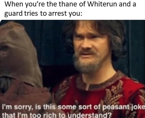 Photo caption - When you're the thane of Whiterun and a guard tries to arrest you: I'm sorry, is this some sort of peasant joke that I'm too rich to understand?
