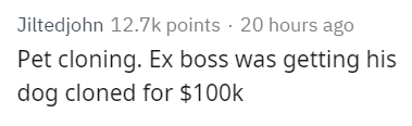 Text - Jiltedjohn 12.7k points 20 hours ago Pet cloning. Ex boss was getting his dog cloned for $100k