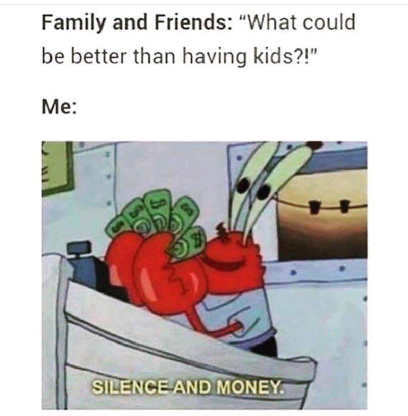"""Text - Family and Friends: """"What could be better than having kids?!"""" Me: SILENCE AND MONEY"""