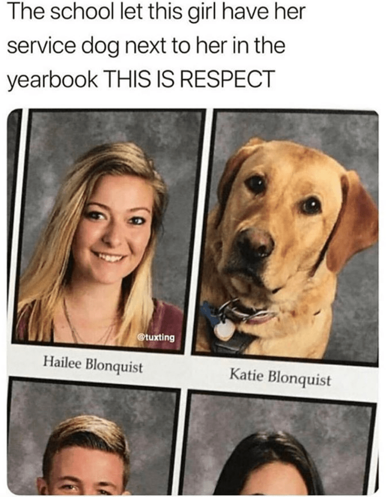 Face - The school let this girl have her service dog next to her in the yearbook THIS IS RESPECT @tuxting Hailee Blonquist Katie Blonquist