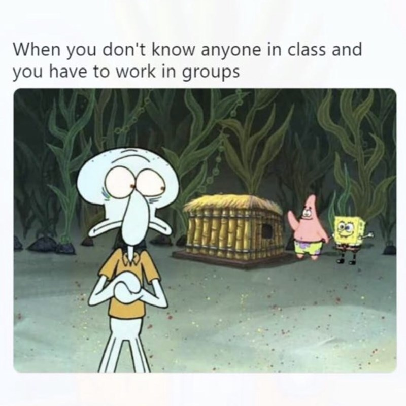 Cartoon - When you don't know anyone in class and you have to work in groups