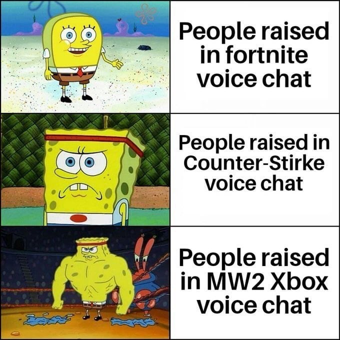 Cartoon - People raised in fortnite voice chat People raised in Counter-Stirke voice chat People raised in MW2 Xbox voice chat డదవ