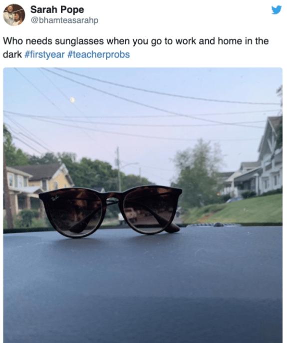Eyewear - Sarah Pope @bhamteasarahp Who needs sunglasses when you go to work and home in the dark #firstyear #teacherprobs
