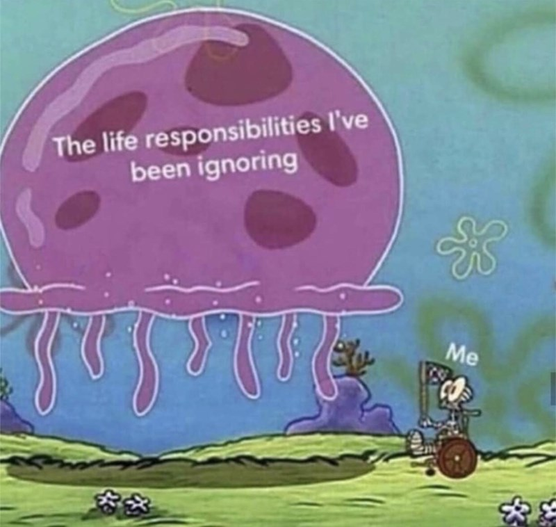Cartoon - The life responsibilities I've been ignoring Me