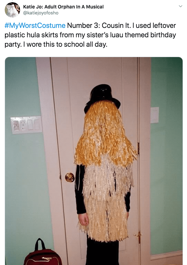 Hair - Katie Jo: Adult Orphan In A Musical @katiejoyofosho #MyWorstCostume Number 3: Cousin It. I used leftover plastic hula skirts from my sister's luau themed birthday party. I wore this to school all day.