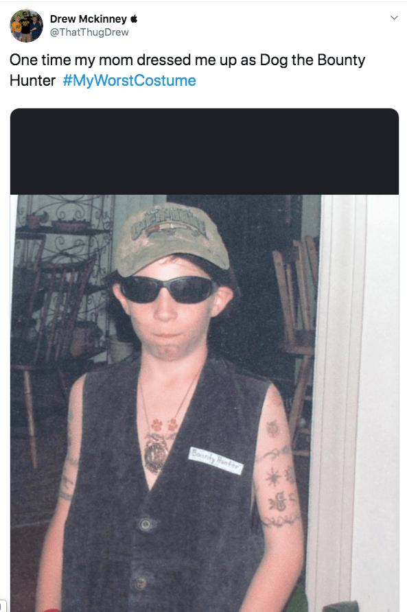 Eyewear - Drew Mckinney* @ThatThugDrew One time my mom dressed me up as Dog the Bounty Hunter #MyWorstCostume Bouly Han * R